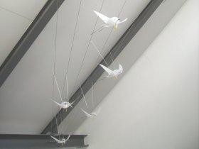 """""""Vogelflug"""" - sowohl mit der Dachschräge aufsteigendes als auch breiter werdendes Seilsystem"""